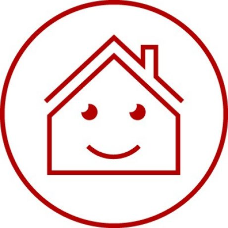 Icon with smiling face in house symbol